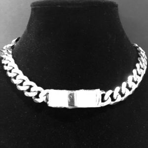 Tag And Chain Collar Necklace